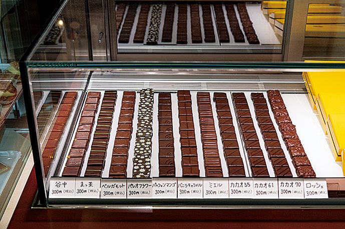 10種類以上揃うショコラ。生姜が効いた「谷中」(300円)がおすすめ。